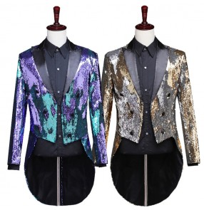 Men's jazz singers sequin coats modern dance magician host night club stage performance coat tuxedo tops jacket